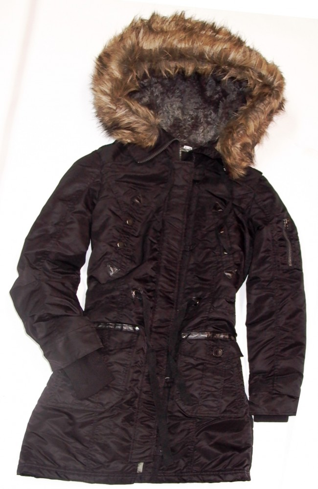 damen winter parka mit fellkapuze schwarz. Black Bedroom Furniture Sets. Home Design Ideas